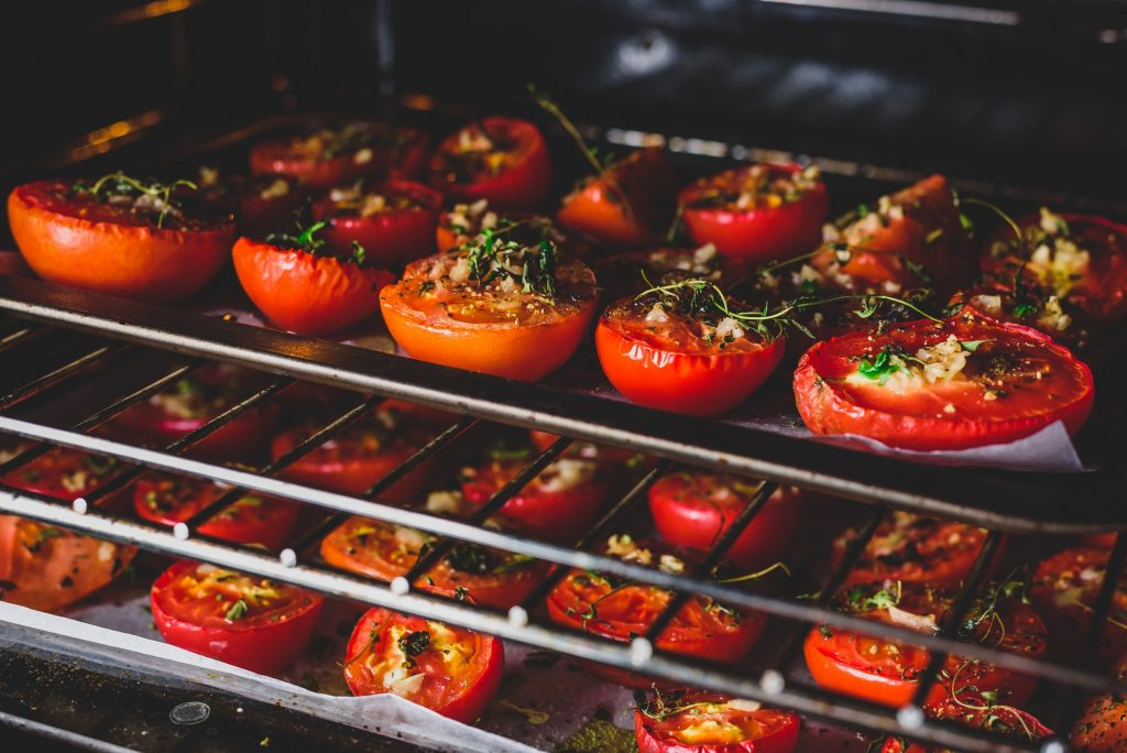 Baking Tomatoes with Herbs and Garlic in Oven